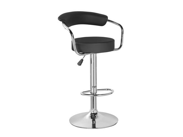Admirable Pu Leather Swivel Adjustable Seat Height Home Kitchen Bar Stool Chair With Padded Back And Chrome Footrest Newegg Com Machost Co Dining Chair Design Ideas Machostcouk