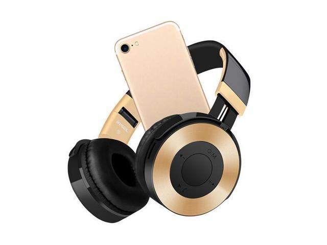 Dprui Foldable Wireless Earphone Hifi Stereo Music Gaming Headset Support Sd Card For Mobile Phone With Mic Bluetooth Headphone Gold Newegg Com