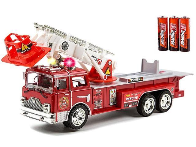 Fire Engine Truck Kids Toyl Kids Toy With Extending Ladder Lights Siren Sounds Vocal Phrases Bump Go Action Newegg Com