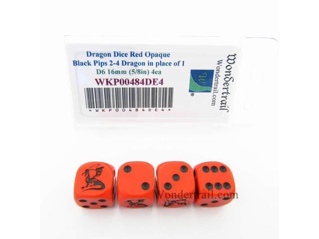 5//8in WKP00484DE4 Dragon Dice D6 Red Opaque with Black Pips 16mm Set of 4 Dice Koplow Games