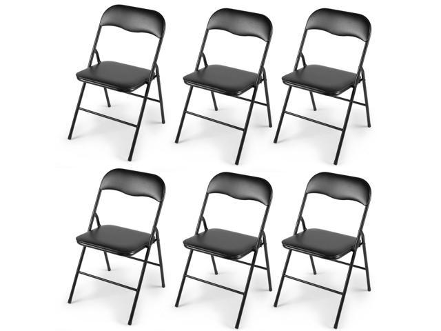 Awe Inspiring New 6 Pcs Commercial Black Plastic Folding Chairs Stack Evergreenethics Interior Chair Design Evergreenethicsorg