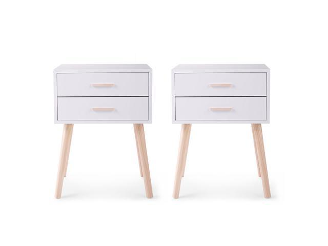 2pcs White Nightstand Side End Table W 2 Drawers Pine Wood Legs Living Room Furniture Newegg Com