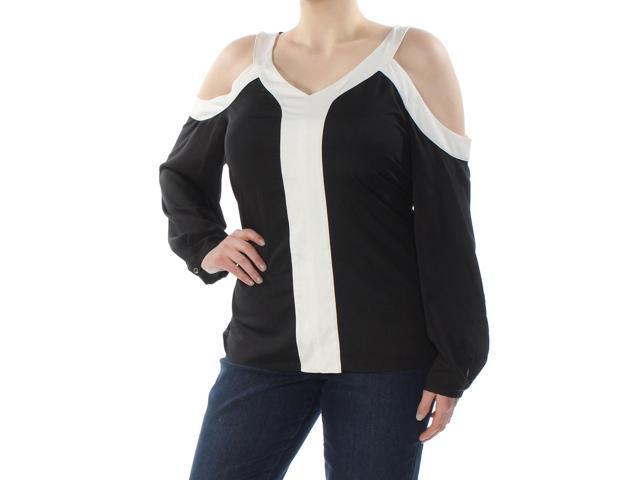 0535d1df5e256 CALVIN KLEIN Womens New 1070 Black Color Block Cold Shoulder Top XL Plus B+B
