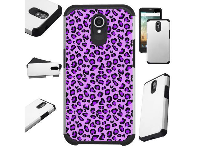 For Alcatel idealXTRA   1X Evolve (2018)   TCL LX Phone Case Hybrid Fusion  Cover (Purple Leopard Skin) - Newegg com