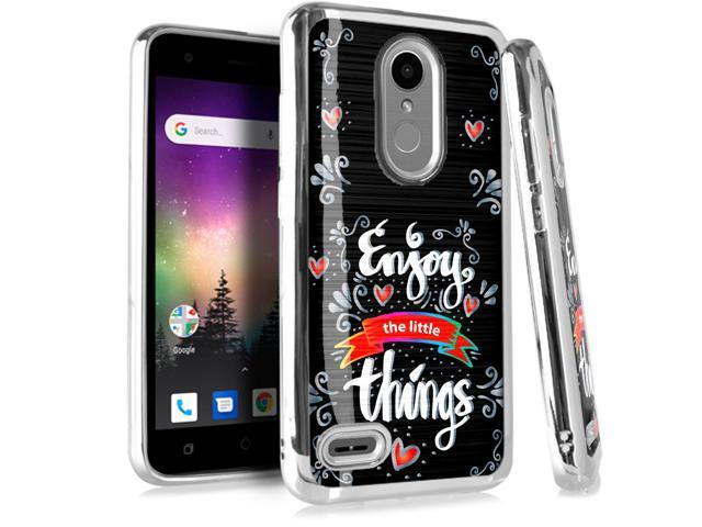 Compatible LG Rebel 4 | Rebel 3 | Rebel 2 Case Electroplated Chrome TPU  Brushed Textured Hybrid Holiday Phone Cover (Enjoy The Little Things) -