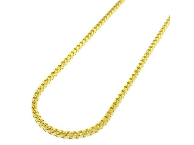 bf3c4ec8488 Sterling Silver Italian 2.5mm Solid Franco Square Box Link 925 Yellow Gold  Plated Necklace Chain
