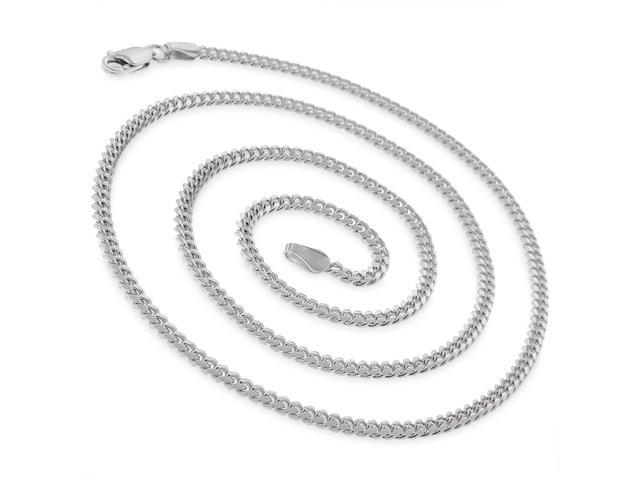 925 Sterling Silver Solid Miami Cuban Curb Link Chain Necklace Rhodium New Italy