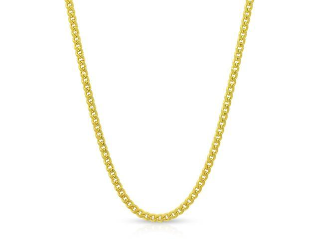 Sterling Silver Italian 4mm Solid Miami Cuban Curb Yellow Gold Chain Necklace