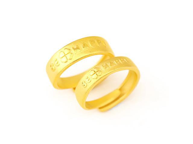 Autofeelsunriseoffice 1 Pair His And Her Clover Open Adjustable Couple Rings Gold Plated Men Women Be Happy Wedding Engagement Forever Love Ring Jewelry Newegg Com