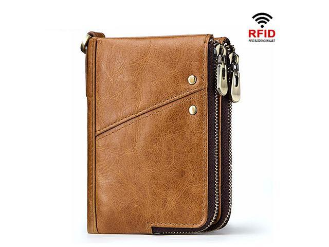 Men Real Leather Zipper Coin Wallet Multi Card Holder Vintage Small Slim Purse