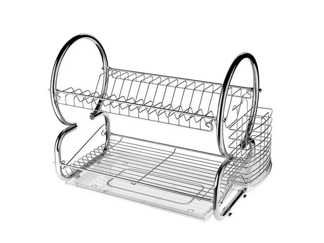 Metal Dish Drying Rack.2 Tier Stainless Steel Dish Drying Rack Kitchen Cup Tray Cutlery Dish Drainer With Drain Board 17 2 X 14 8 X 9 8
