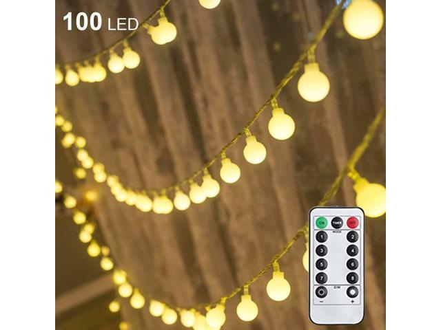 competitive price 3e502 63e2b JS Twinkle Star 100 LED 50 FT Ball Fairy String Lights Plug In Remote  Control Décor - Newegg.com