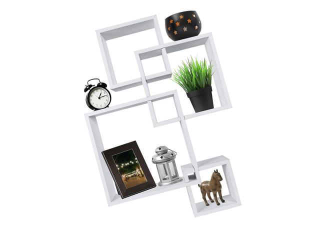 Excellent Js Greenco Decorative 4 Cube Intersecting Wall Mounted Floating Shelves White F Newegg Com Best Image Libraries Barepthycampuscom