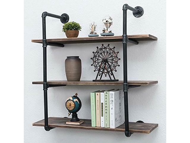 Awesome Js Industrial Bookcases Pipe Shelves With Wood 3 Tiers Rustic Wall Mount Shelf Hung Newegg Com Download Free Architecture Designs Scobabritishbridgeorg