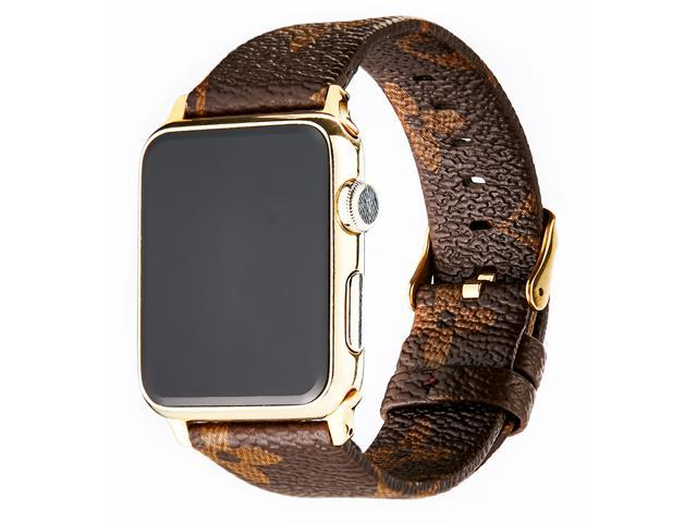 6d77e26c7ce9c1 GOOSUU for Louis Vuitton Apple Watch Band Leather iWatch Strap 38mm  42mm,Sport Leisure Style iWatch Band Lattice Apple Watch Band, for Apple  Series 3 2 ...