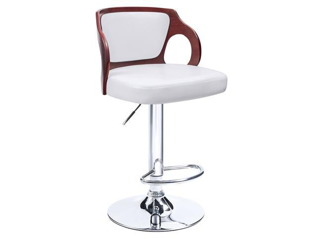 Pleasant Homall Walnut Bentwood Bar Stool Larger Cushion Height Adjustable Chrome Base Leather Back Padded Bar Stools With Footrest Swivel Dinning Chairs Pabps2019 Chair Design Images Pabps2019Com