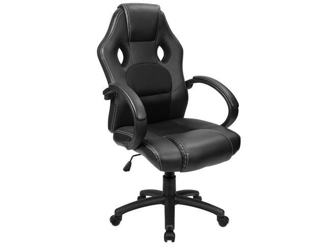 Homall Office Gaming Chair with Big Size Cushion Racing Car Style Bucket  Seat, High Back, Executive Swivel, PU Leather & Mesh, Padded Armrests and