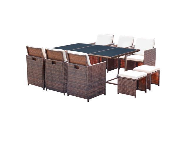 Pe Rattan Brown Homall Patio Furniture, Patio Furniture Table