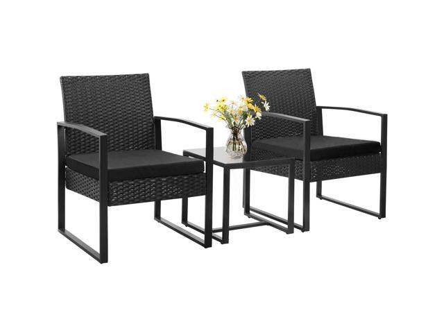 Homall 3 Pieces Patio Furniture Sets Clearance Bistro Set Patio Outdoor  Rattan Patio Conversation Sets Wicker Furniture Outdoor Tempered Glass (PE  ...