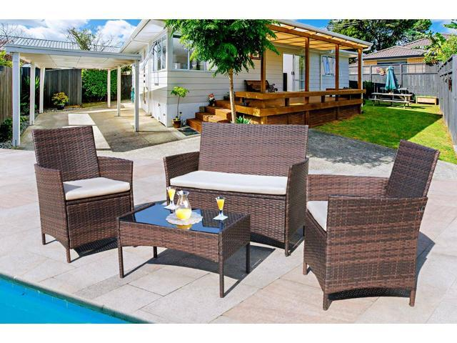 Homall 4 Pieces Outdoor Patio Furniture Sets Clearance Rattan Chair Wicker Set Outdoor Indoor Use Backyard Porch Garden Poolside Balcony Furniture