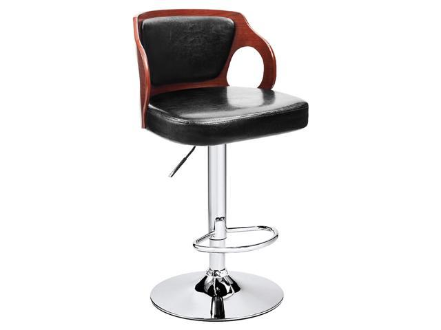Stupendous Homall Walnut Bentwood Bar Stool Larger Cushion Height Adjustable Chrome Base Leather Back Swivel Vinyl Seat With Footrest 1 Stool Pabps2019 Chair Design Images Pabps2019Com