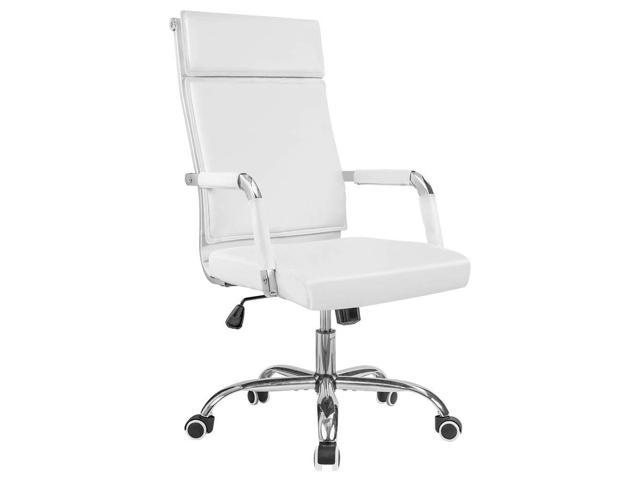 Pleasing Homall Office Chair Thickened Mid Back Premium Pu Leather Rocking Modern Executive Swivel Conference Chair White Machost Co Dining Chair Design Ideas Machostcouk