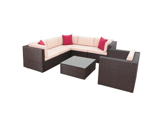 Homall 7 Pieces Outdoor Patio Furniture Sofa Set, All Weather PE Rattan  Wicker Sectional Sets Modern Modular Couch Outside Conversation Set with  Thick ...