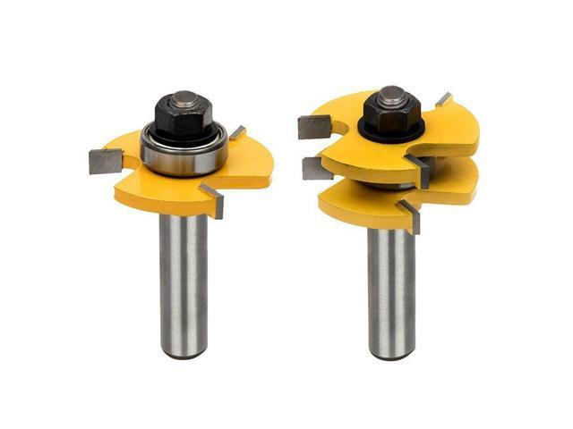 Tongue And Groove Set Router Bit Set Wood Door Flooring 3 Teeth Adjustable 1 2 Inch Shank T Shape Wood Milling Cutter Woodworking Tool 2pcs