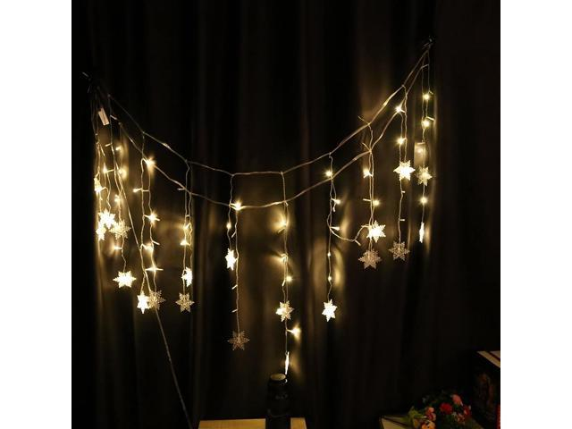 String Lights Warm White Light DIY LED Snowflake Hanging Lights Parties  Holiday Décor Perfect for Christmas/Party/Home Decoration/Wedding and More  -
