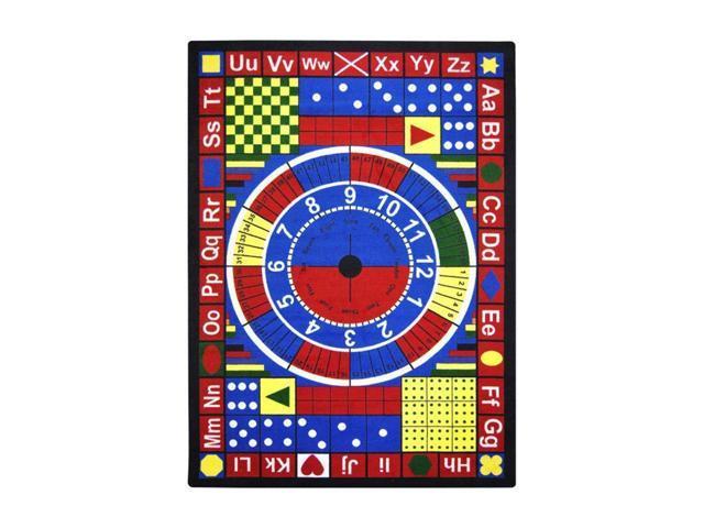 Joy Carpets Kid Essentials Active Play & Juvenile Teach-A-Tot Rug,  Multicolored, 5'4