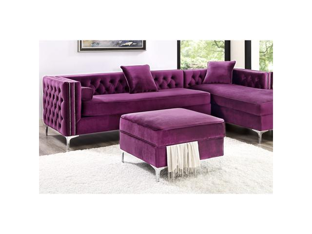 Brilliant Lorenzo Purple Velvet Storage Ottoman Chrome Legs Square Modern And Contemporary Inspired Home Dailytribune Chair Design For Home Dailytribuneorg