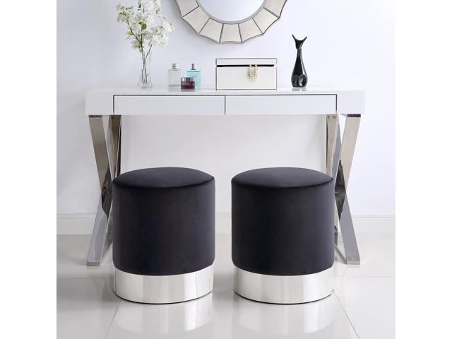 Marvelous Lucy Black Velvet Round Ottoman Chrome Metal Base Upholstered Modern Contemporary Inspired Home Caraccident5 Cool Chair Designs And Ideas Caraccident5Info