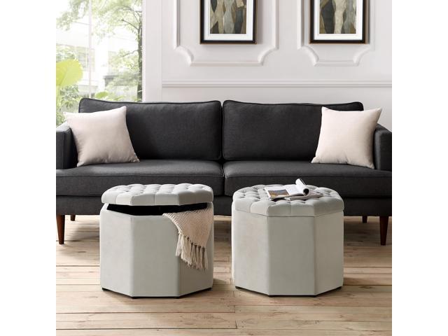 Camille Grey Velvet Storage Ottoman - Upholstered   Tufted   Livingroom,  Entryway, Bedroom   Inspired Home