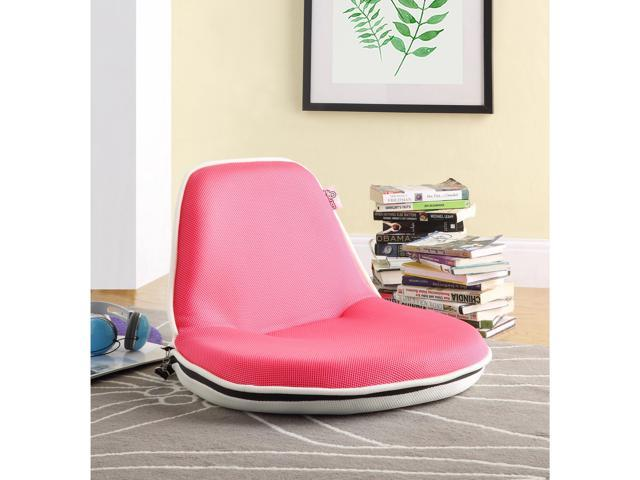 Pink Mesh Floor Chair Foldable Portable With Strap Indoor Outdoor Kids Teens Adults Loungie Newegg Com