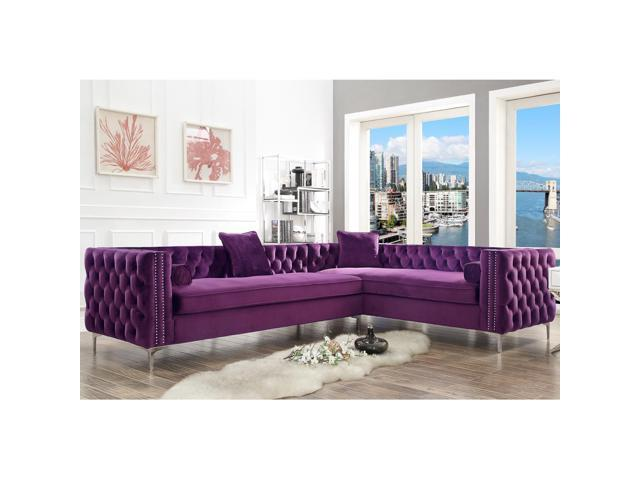 Incredible Lorenzo Purple Corner Sectional Sofa 120 Right Facing Velvet Tufted Nailhead Metal Legs Modern Contemporary Inspired Home Cjindustries Chair Design For Home Cjindustriesco