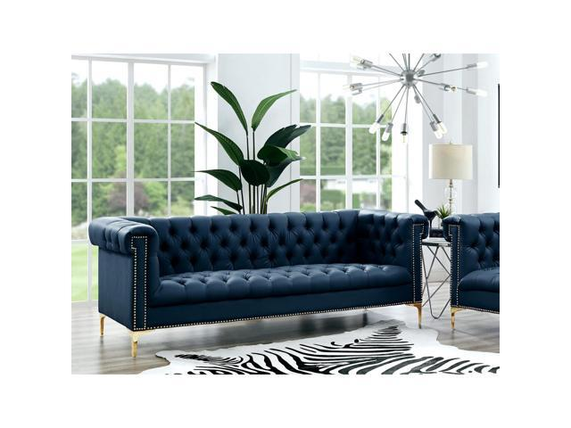 Warwick Navy Leather Chesterfield Sofa - Gold Metal Y-Legs | Button Tufted  | Nailhead Trim | Modern | Contemporary | Inspired Home