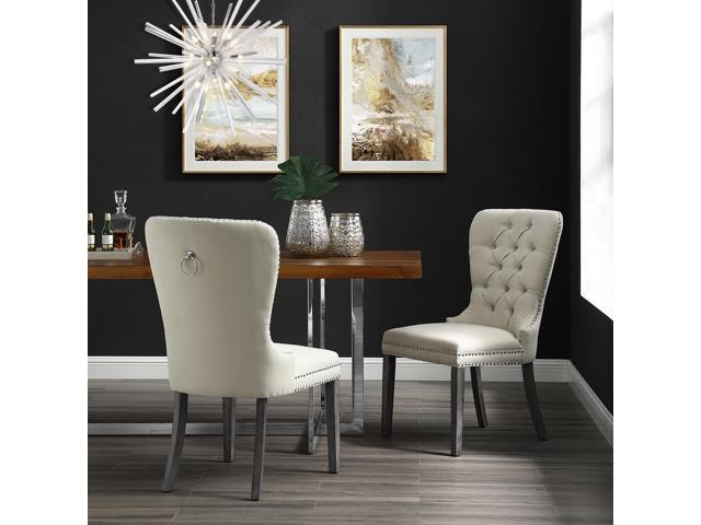 Duncan Cream White Linen Dining Chair Set Of 2 Tufted Ring Handle Chrome Nailhead Trim Newegg Com