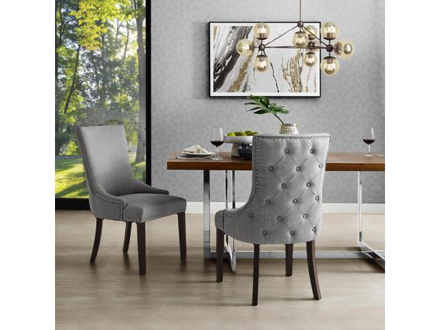 Pleasant Balthazar Light Grey Linen Dining Chair Set Of 2 Back Tufted Nailhead Trim Finish Bralicious Painted Fabric Chair Ideas Braliciousco