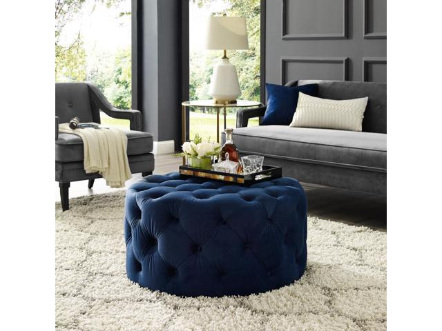 Pleasing Jenelle Navy Blue Velvet Cocktail Ottoman Allover Tufted Round Castered Legs Inspired Home Caraccident5 Cool Chair Designs And Ideas Caraccident5Info