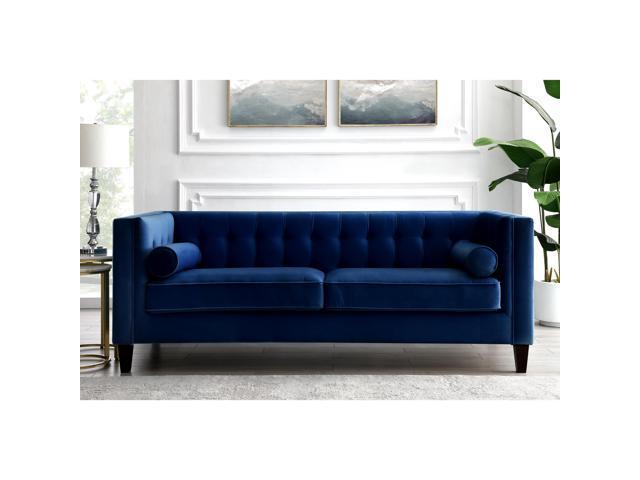 Navy Blue Velvet Sofa On Tufted