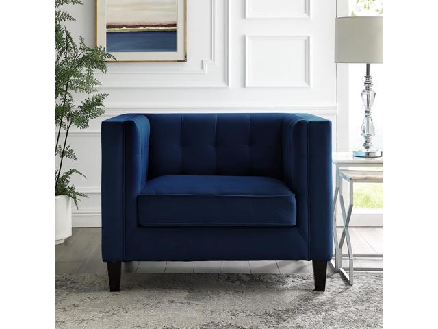 Remarkable Kenn Navy Blue Velvet Club Chair Or Sofa Button Tufted Espresso Tapered Leg Square Arms Inspired Home Dailytribune Chair Design For Home Dailytribuneorg