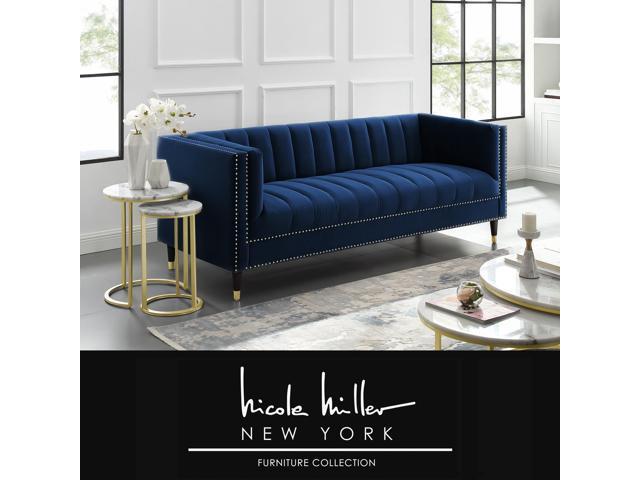 Super Karena Navy Blue Velvet Club Chair Or Sofa Channel Tufted Gold Nailhead Trim Metal Tip Legs By Nicole Miller Dailytribune Chair Design For Home Dailytribuneorg