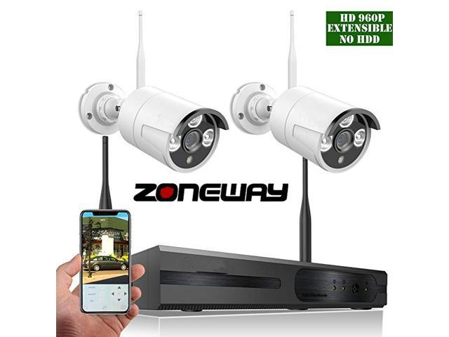 ZONEWAY 4-Channel 960P White Wireless Network/IP Security Camera System(IP  Wireless WIFI NVR Kits),2Pcs 720P 1 0 Megapixel Wireless Indoor/Outdoor IR