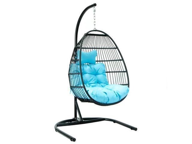 Leisuremod Wicker Folding Hanging Egg Swing Chair In Teal Newegg Com