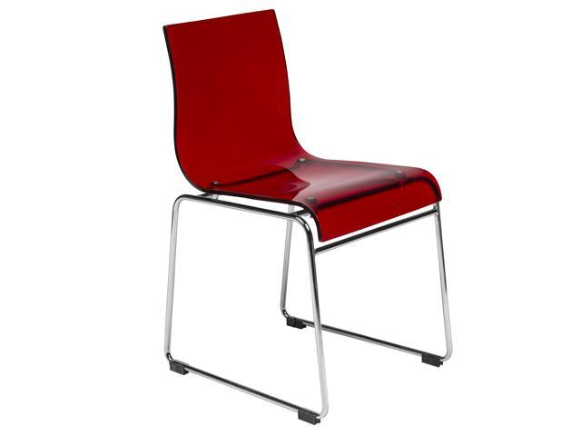 Prime Leisuremod Lima Modern Acrylic Dining Side Chair With Chrome Base In Transparent Red Beatyapartments Chair Design Images Beatyapartmentscom
