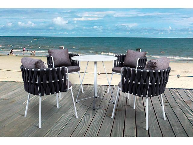 Rope Patio Furniture.Leisuremod Spencer 5 Piece Rope Outdoor Bistro Patio Dining Furniture Set With Cushions In Black Newegg Com