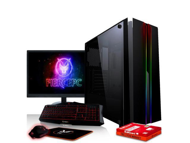 Fierce EXILE Gaming PC, Fast AMD Ryzen 3 2300X 4 0GHz, 1TB HDD, 8GB RAM,  GTX 1650 4GB, Windows 10 Compatible, Keyboard and Mouse, 21 5-Inch Monitor