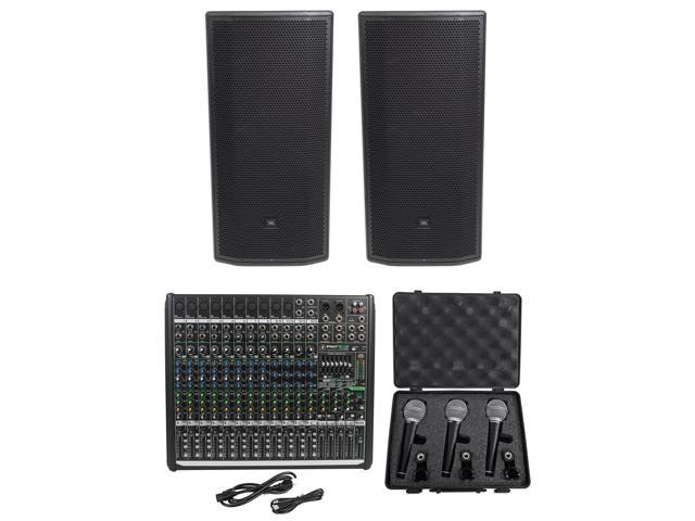 """7be4a353081 2) JBL Pro PRX835XW 15"""" 3-Way 1500w Active Speakers+Mackie Mixer+"""