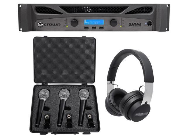 Crown Pro XTI4002 XTI 4002 3200w DSP Amplifier+Audio Technica Headphones+3)  Mics - Newegg com