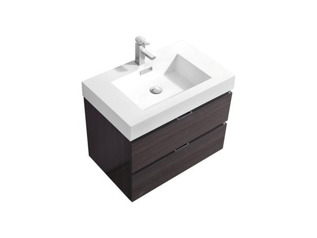 . Enova Home 30 Inch High Gloss Grey Oak Wall Mount Modern Bathroom Vanity  With Acrylic Countertop   Newegg com